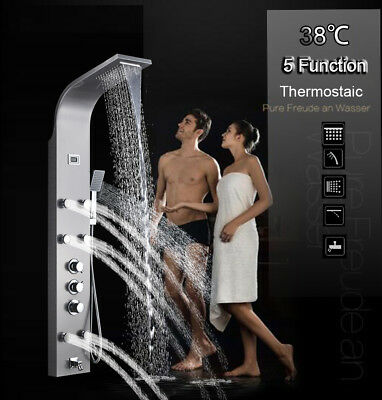 Stainless Steel Shower Panel Tower LED Rain/Waterfall  Massager Body System Jet