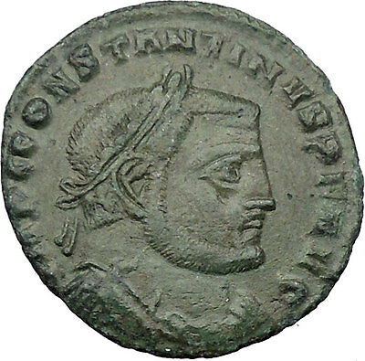 Constantine I The Great 312AD Ancient Roman Coin Nude Jupiter Zeus w Nike i32421