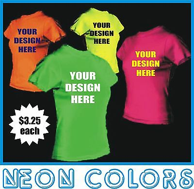 100 custom silk screen printed t shirts any color for Bulk neon t shirts