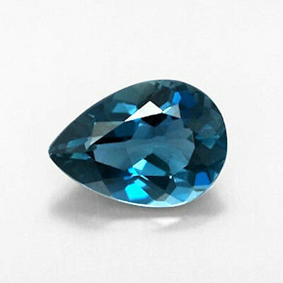 Masterpiece Collection: Pear Faceted Natural London Blue Topaz (6x4-12x8mm)