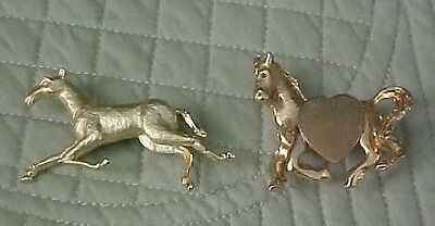 2 Vintage Horse Pins Gold Tones Running Poses One with Heart Unmarked