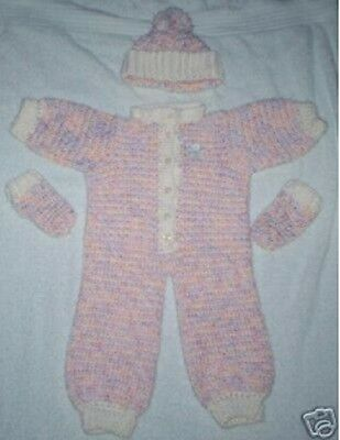 NEW Ultra Soft Crochet Baby Coverall Set  *** HAND MADE ***
