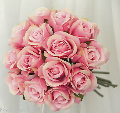 Silk Wedding Bouquet Pink Pre Made Posy Rose Bouquets Roses Flower Fake Flowers