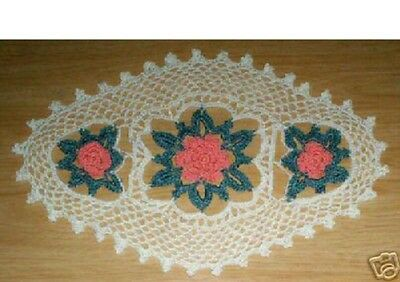 NEW  Sweet Blossoms Oval Crochet Doily *** HAND MADE ***