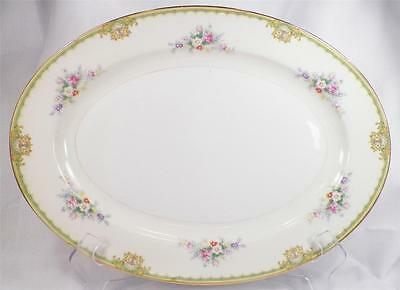 Royal China Japan Serving Platter Oval Vintage 16 in Flowers Yellow Bands RCJ1