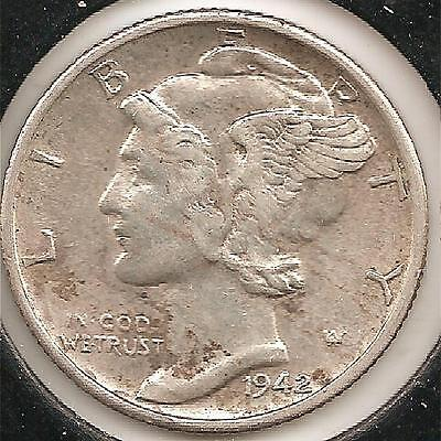 1942-S ABOUT UNCIRCULATED Mercury Dime #2