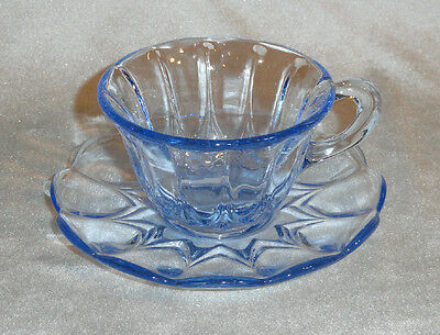 Vintage VIKING Glass JANICE Blue CUP & SAUCER SET  -  OTHER PIECES AVAILABLE