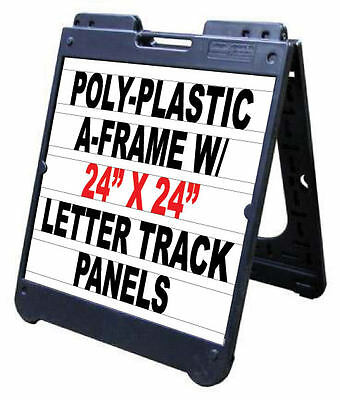 "24""x 24"" Signicade Plastic Sidewalk Changeable Letters Message Sign Black"