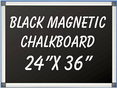 """Aluminum Framed Magnetic Black Chalkboard With Tray 24"""" x 36"""""""
