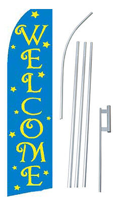 Welcome Stars 15' COMPLETE SWOOPER FLAG STARTER KIT Bow Feather