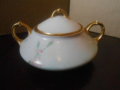 Vtg Portland G.H.B. Co J&C China Hand Painted Sugar Bowl With Lid Pink Flowers