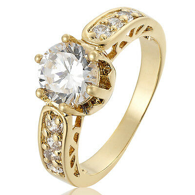 SALE! LADY FASHION JEWELRY ROUND CUT 18K GOLD PLATED PARTY RING 6 7 8
