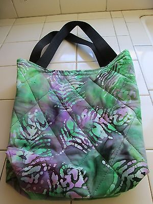 0d5d1b93a Handcrafted Quilted 100% Cotton Small Tote Bag Green Earth Design!