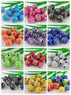 12Color 150pcs Mixed Acrylic Round Curly Round Ball Loose Spacer Beads 8mm