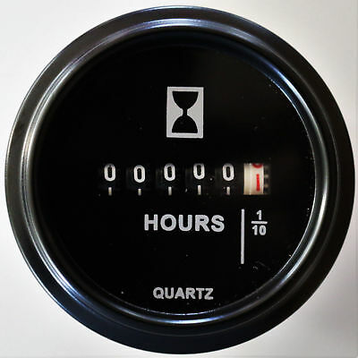 """Hour Meter 10 to 80 Volts DC, Black Trim Ring - 2"""" ROUND"""
