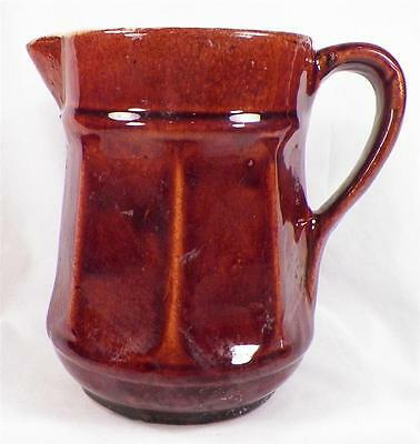 Antique Stoneware Pitcher Brown Glaze Milk Water Large Size CHIP ON SPOUT