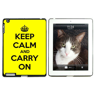 Keep Calm and Carry On Yellow - Protective Case for Apple iPad 2 3 4 - Black