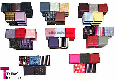 120x Wholesale New Mens Cufflinks Tie & Hanky Set 100% Silk Job Lot Christmas