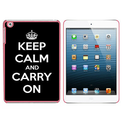 Keep Calm and Carry On Black - Hard Protective Case for Apple iPad Mini - Pink