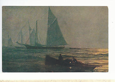 Schooners and Fishermen at Night  Mailed 1909  Postcard  6283