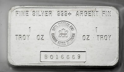 1 oz .Silver RCM Bar 999 Fine - Royal Canadian Mint Discontinued in 1988