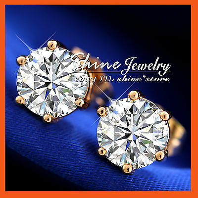 18K ROSE GOLD GF solitaire SIMULATED DIAMOND 1.5CT SOLID MENS LADY GIRL EARRINGS