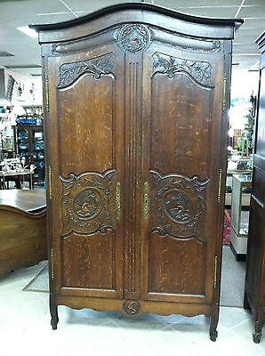 GORGEOUS LOU XV NORMAN STYLE FRENCH ARMOIRE (OAK) WITH DOVE & EAGLE circa 19th C