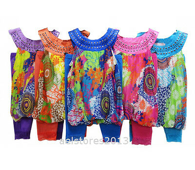 Girls Party Top Dress Summer 2/3pc Legging Set Floral Age 2 12 year New Fashion
