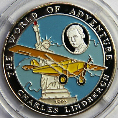 1996 Afghanistan Proof Silver Color Piedfort 500 A-Lindbergh/Airplane/St.Liberty