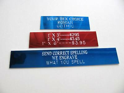 ENGRAVED PLATES 1 X 4 MADE TO ORDER 3 SIZES AVAILABLE custom plates upon request