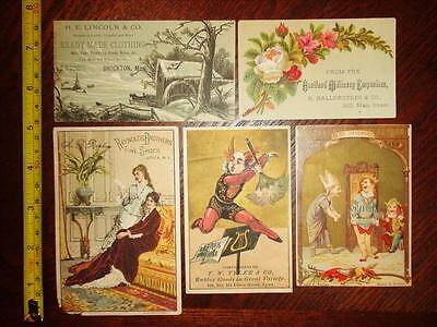BB316 Vintage Mixed LOT of 5 Different Victorian Trade Cards