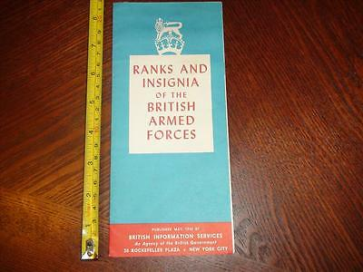 BD006 Vintage 1943 Brochure Ranks and Insignia of the British Armed Forces