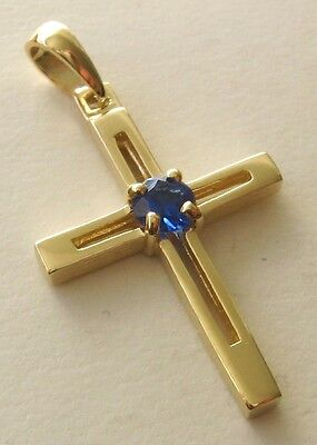UNISEX  GENUINE  9K  9ct  SOLID  Gold  SAPPHIRE  CROSS   Pendant