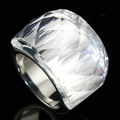 Huge Sparkling Clear Faceted Glass Stone Stainless Steel Fashion Ring