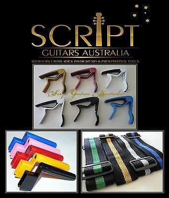 Guitar Package - Heavy Duty Capo, Strap, String Winder, Leather pick holder +