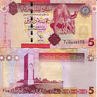 LIBYA 5 Dinar Banknote World Paper Money Currency Pick p72 2011 BILL Camel Note