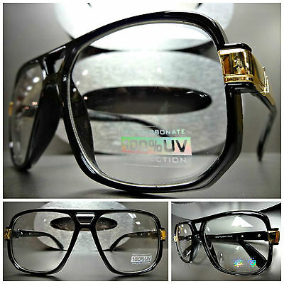 Mens Women CLASSIC VINTAGE Style Clear Lens EYE GLASSES Black Gold Fashion Frame