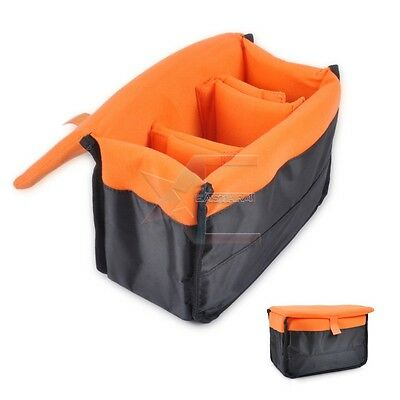Insert Padded Camera DSLR Inner Folding Divider Partition Protect Case Orange