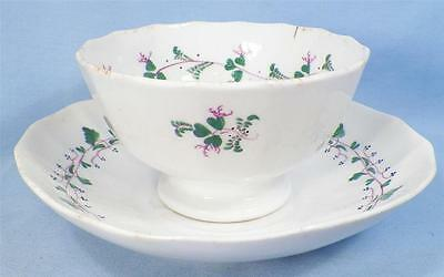 Antique Sprig Cup & Saucer Soft Paste Handleless Clover Pink Green Leaves AS IS
