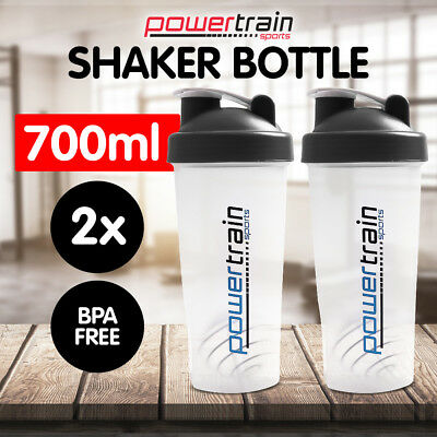 2X GYM PROTEIN SUPPLEMENT DRINK BLENDER MIXER SHAKER SHAKE BALL BOTTLE CUP 700ml