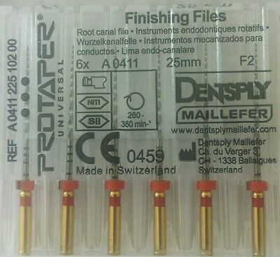 Dental Dentsply Rotary ProTaper Universal Engine NiTi Files 25 mm F2