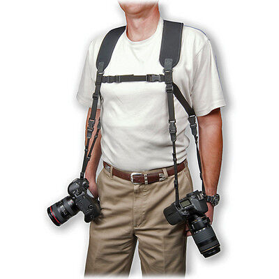 Optech dual harness (reg) comfortably + securely carry 2 cameras or binoculars