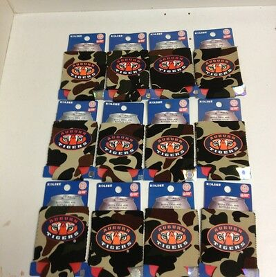 (12) Auburn Tigers Camo Can Koozie Huggie Hugger Wholesale Lot Gifts