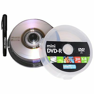 10 Memorex Duralayer Mini 8cm DVD-R x4 Camcorder Blank Media Disc 1.4Gb 30min