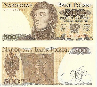 POLAND 500 Zlotych Banknote World Paper Money UNC Currency Pick p-145d Bill Note