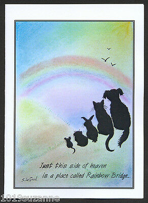 Pack 6 Original Design Rainbow Bridge Pet Loss Bereavement Cards Suzanne Le Good