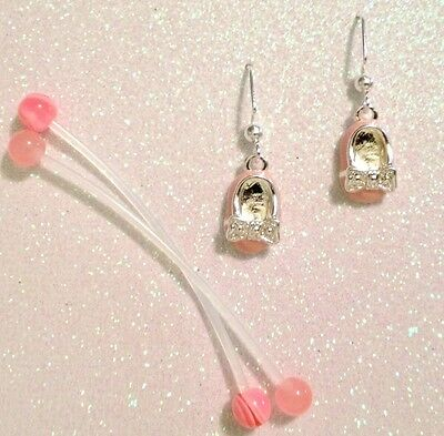 Pink Pregnancy Navel Rings And Silver Plated Baby Shoe Dangle Earrings Set ~~Usa