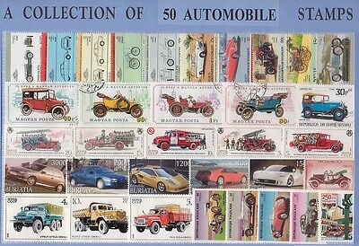 50 Automobile Thematic Stamps Collection - All Different & Genuine
