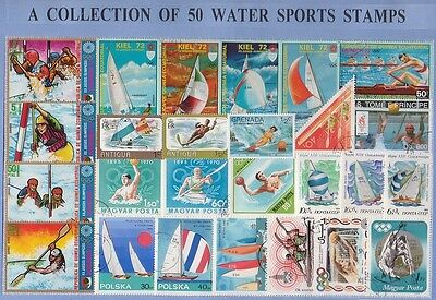 50 Water Sports Thematic Stamps - All Different & Genuine