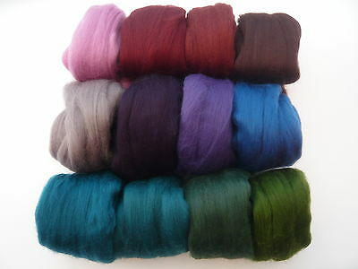 Heidifeathers® Merino Felting Wool - 'Midnight Mix' 12 Colours (300g) Dark, Deep